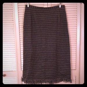 {Vintage}grey plaid longline pencil skirt w/fringe